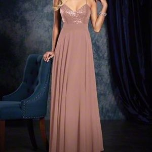 Alfred Angelo Rose Gold floor length gown